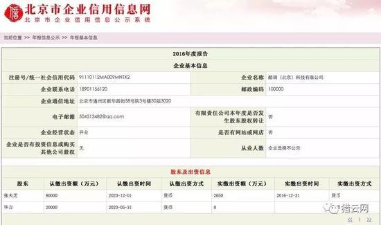 数据来源于北京企业信用信息网