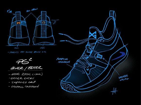 耐克设计图:鞋舌印有发光的蓝色标志