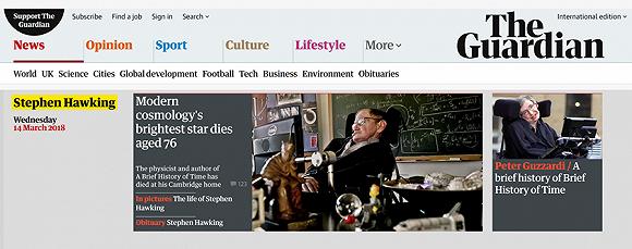 英國著名物理學家史蒂芬·霍金去世 享年76歲