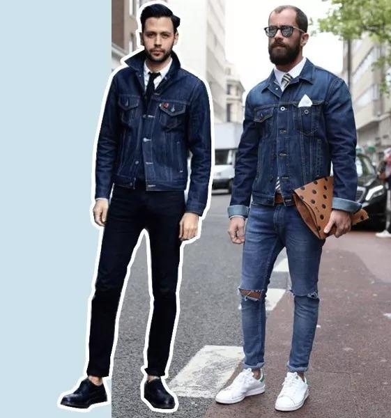 将牛仔夹克夹穿在西服里面,内穿衬衫或圆领白t,既不会太商务,休闲感
