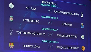【体育晚报】欧冠1/4决赛对阵出炉巴萨对战曼联 王哲林被选CBA外乡MVP