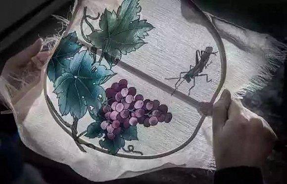 京剧人物画手绘扇面