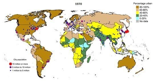 左下角的大小点则标示城市人口的多寡(单位:百万),下图同理.