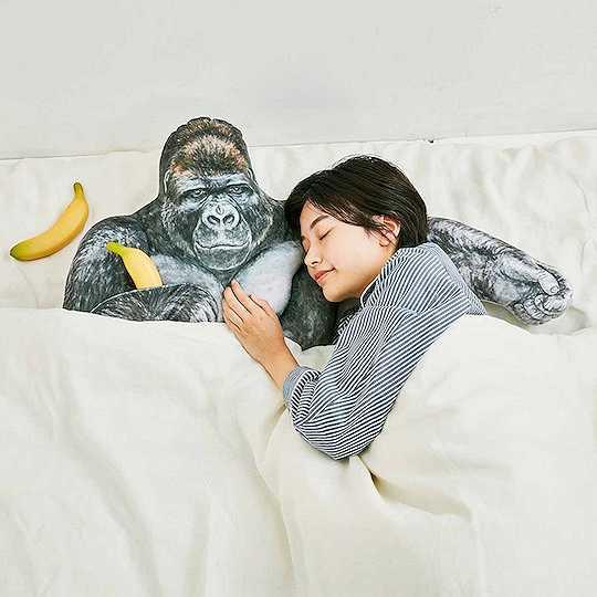 你可以将头枕在大猩猩胳膊上睡觉,他的另一侧胸口还可以放手机。