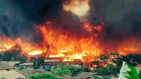 孟加拉罗兴亚难民营发生大火,致15死560伤、400人失踪