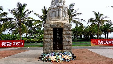 图集丨白沙门渡海英雄纪念碑前,鲜花灿烂
