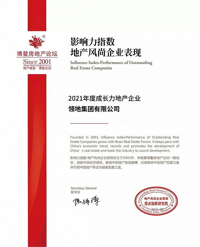 领地集团荣膺2021年度成长力企业